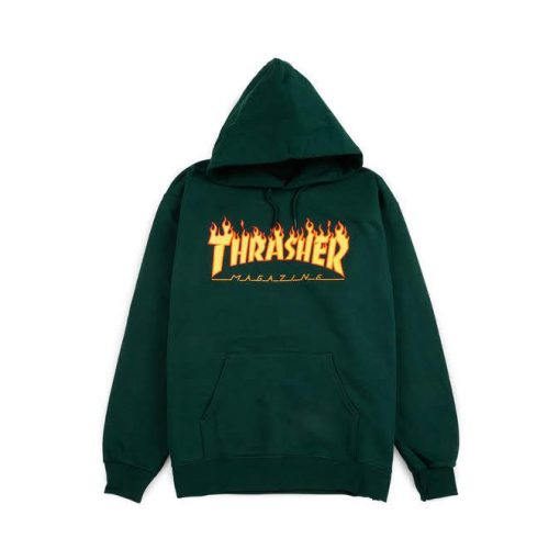 Forest Green Thrasher Flame Logo Hoodie
