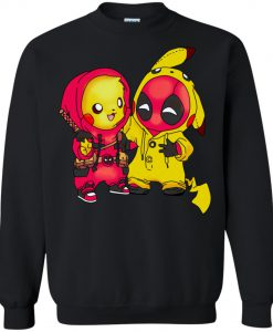 Baby Pikachu Pokemon and Deadpool Sweatshirt