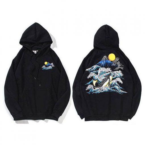 Japanese Aesthetic Waves Hoodie