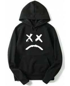 Sad Face Letter Print Hoodie